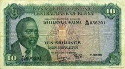 10 Shillings KENYA  1969 P.07a TTB