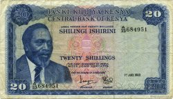 20 Shillings KENYA  1969 P.08a TB+