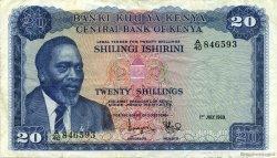 20 Shillings KENYA  1969 P.08a TTB