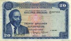 20 Shillings KENYA  1973 P.08d TTB