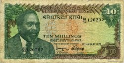 10 Shillings KENYA  1975 P.12a TB