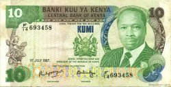 10 Shillings KENYA  1987 P.20f TTB+