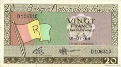 20 Francs RWANDA  1964 P.06a TTB+