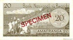 20 Francs RWANDA  1969 P.06s1 NEUF