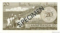 20 Francs RWANDA  1971 P.06s3 pr.NEUF