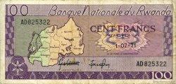 100 Francs RWANDA  1971 P.08c TTB