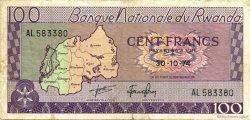 100 Francs RWANDA  1974 P.08c TB