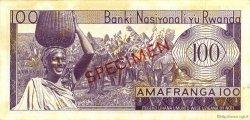 100 Francs RWANDA  1964 P.08s1 SUP