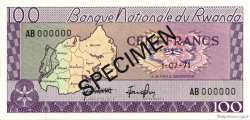 100 Francs RWANDA  1971 P.08s2 NEUF