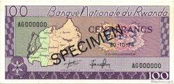 100 Francs RWANDA  1974 P.08s2 SPL