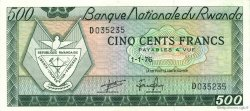 500 Francs RWANDA  1976 P.09b SPL