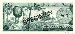 500 Francs RWANDA  1969 P.09s1 pr.NEUF