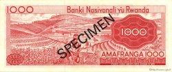 1000 Francs RWANDA  1971 P.10s2 SPL