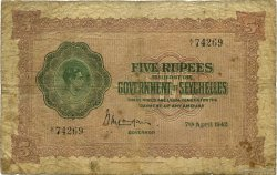 5 Rupees SEYCHELLES  1942 P.08 B