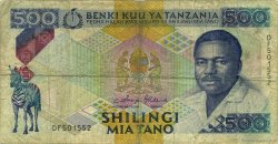 500 Shilingi TANZANIE  1989 P.21b B+