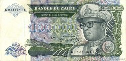 100000 Zaïres ZAÏRE  1992 P.41a pr.SUP