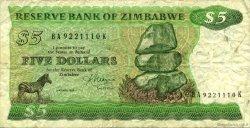 5 Dollars ZIMBABWE  1983 P.02c TB