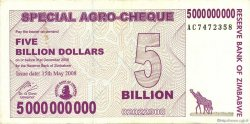 5 Billion Dollars ZIMBABWE  2008 P.61 SUP