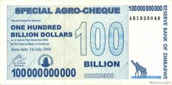 100 Billion Dollars ZIMBABWE  2008 P.64 SUP