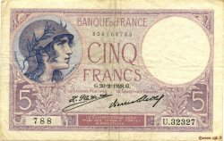 5 Francs VIOLET FRANCE  1928 F.03.12 TTB