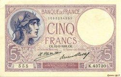 5 Francs VIOLET FRANCE  1931 F.03.15 SUP