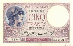 5 Francs VIOLET FRANCE  1933 F.03.17 pr.NEUF