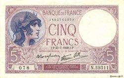 5 Francs VIOLET modifié FRANCE  1939 F.04.03 SUP