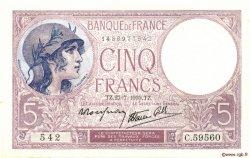 5 Francs VIOLET modifié FRANCE  1939 F.04.03 pr.NEUF