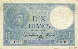 10 Francs MINERVE modifié FRANCE  1940 F.07.21 TTB