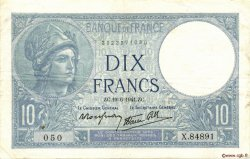10 Francs MINERVE modifié FRANCE  1941 F.07.29 TTB