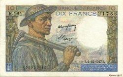 10 Francs MINEUR FRANCE  1947 F.08.19 SUP à SPL
