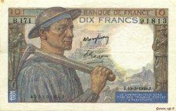 10 Francs MINEUR FRANCE  1949 F.08.20 TTB+