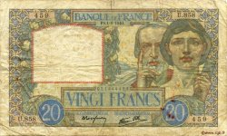 20 Francs SCIENCE ET TRAVAIL FRANCE  1940 F.12.05 pr.TB