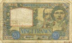 20 Francs SCIENCE ET TRAVAIL FRANCE  1940 F.12.08 B