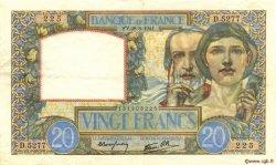 20 Francs SCIENCE ET TRAVAIL FRANCE  1941 F.12.17 TTB à SUP