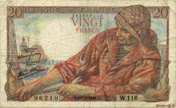 20 Francs PÊCHEUR FRANCE  1944 F.13.08 TB+