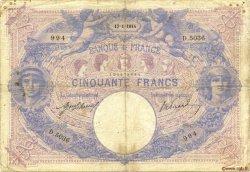 50 Francs BLEU ET ROSE FRANCE  1914 F.14.27 B+