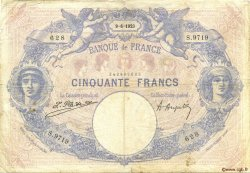 50 Francs BLEU ET ROSE FRANCE  1923 F.14.36 B+