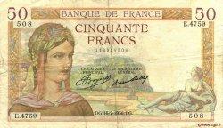50 Francs CÉRÈS FRANCE  1936 F.17.28 TB à TTB
