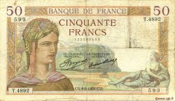 50 Francs CÉRÈS FRANCE  1936 F.17.29 B+