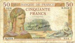 50 Francs CÉRÈS FRANCE  1936 F.17.30 B+