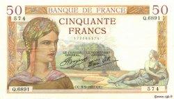 50 Francs CÉRÈS modifié FRANCE  1937 F.18.03 pr.SUP