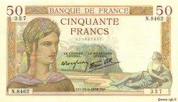 50 Francs CÉRÈS modifié FRANCE  1938 F.18.14 pr.SUP