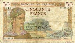 50 Francs CÉRÈS modifié FRANCE  1940 F.18.39 pr.TB