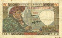 50 Francs JACQUES CŒUR FRANCE  1941 F.19.14 pr.TTB