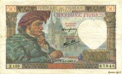 50 Francs JACQUES CŒUR FRANCE  1942 F.19.18 TTB