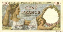 100 Francs SULLY FRANCE  1941 F.26.61 TTB