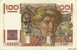 100 Francs JEUNE PAYSAN FRANCE  1953 F.28.36 pr.SUP