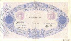 500 Francs BLEU ET ROSE modifié FRANCE  1938 F.31.17 TTB