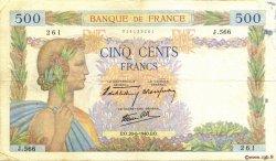 500 Francs LA PAIX FRANCE  1940 F.32.03 TB